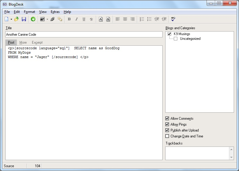 BlogDesk insering sourcecode