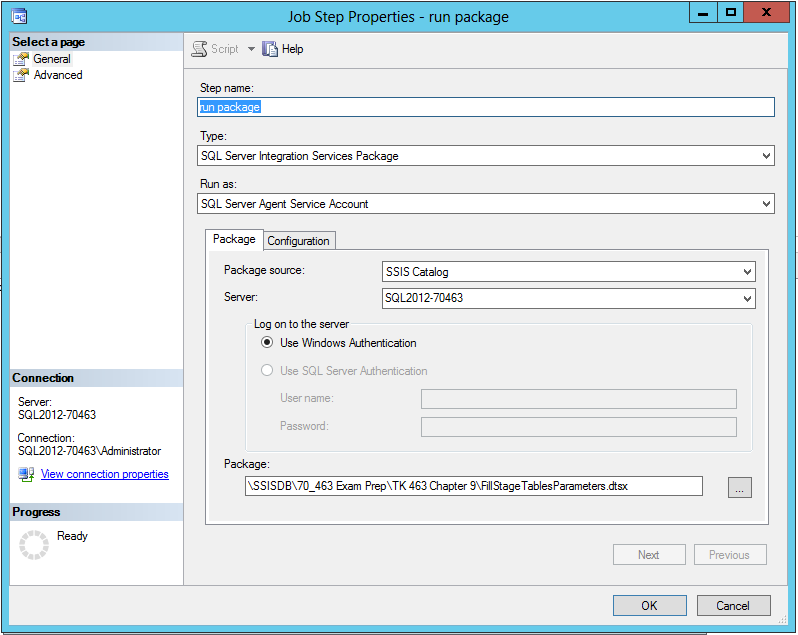 Executing a package via a SQL Server Agent job