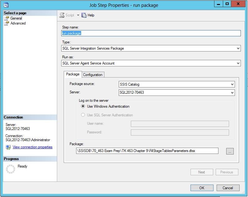 Executing a package via a SQL Server Agent job